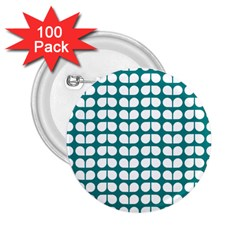 Teal And White Leaf Pattern 2 25  Buttons (100 Pack)  by creativemom