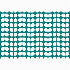 Teal And White Leaf Pattern Collage 12  X 18  by creativemom