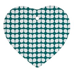 Teal And White Leaf Pattern Heart Ornament (2 Sides) by creativemom