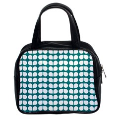 Teal And White Leaf Pattern Classic Handbags (2 Sides) by creativemom