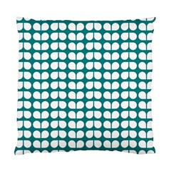 Teal And White Leaf Pattern Standard Cushion Cases (two Sides)  by creativemom