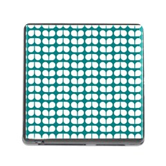 Teal And White Leaf Pattern Memory Card Reader (square) by creativemom