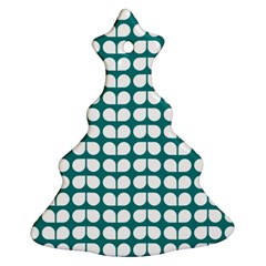 Teal And White Leaf Pattern Christmas Tree Ornament (2 Sides) by creativemom