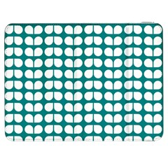 Teal And White Leaf Pattern Samsung Galaxy Tab 7  P1000 Flip Case