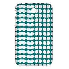 Teal And White Leaf Pattern Samsung Galaxy Tab 3 (7 ) P3200 Hardshell Case
