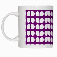 Purple And White Leaf Pattern White Mugs