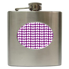 Purple And White Leaf Pattern Hip Flask (6 Oz)