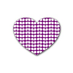 Purple And White Leaf Pattern Rubber Coaster (heart)