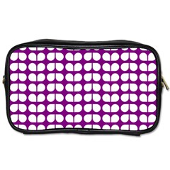 Purple And White Leaf Pattern Toiletries Bags by creativemom