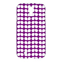 Purple And White Leaf Pattern Samsung Galaxy S4 I9500/i9505 Hardshell Case by creativemom