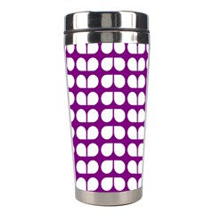 Purple And White Leaf Pattern Stainless Steel Travel Tumblers by creativemom