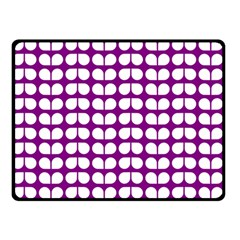 Purple And White Leaf Pattern Double Sided Fleece Blanket (small)