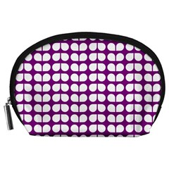 Purple And White Leaf Pattern Accessory Pouches (large)