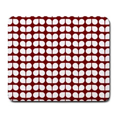 Red And White Leaf Pattern Large Mousepads by creativemom
