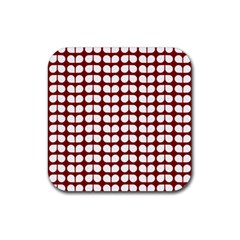 Red And White Leaf Pattern Rubber Square Coaster (4 Pack)  by creativemom