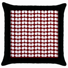 Red And White Leaf Pattern Throw Pillow Cases (black)