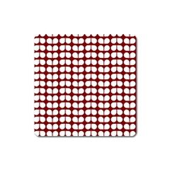 Red And White Leaf Pattern Square Magnet by creativemom