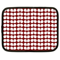 Red And White Leaf Pattern Netbook Case (xxl)  by creativemom