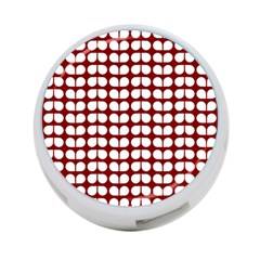 Red And White Leaf Pattern 4 Port Usb Hub (two Sides)  by creativemom