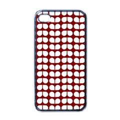 Red And White Leaf Pattern Apple Iphone 4 Case (black) by creativemom