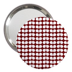 Red And White Leaf Pattern 3  Handbag Mirrors by creativemom