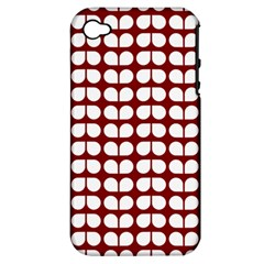 Red And White Leaf Pattern Apple Iphone 4/4s Hardshell Case (pc+silicone) by creativemom