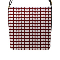 Red And White Leaf Pattern Flap Messenger Bag (l)