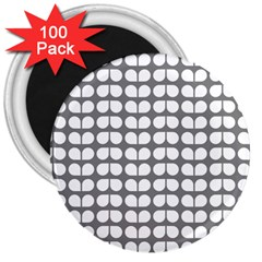 Gray And White Leaf Pattern 3  Magnets (100 Pack)