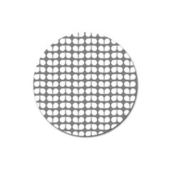 Gray And White Leaf Pattern Magnet 3  (round)