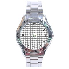 Gray And White Leaf Pattern Stainless Steel Men s Watch by creativemom