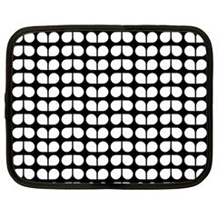 Black And White Leaf Pattern Netbook Case (large)