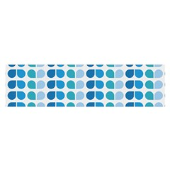 Blue Green Leaf Pattern Satin Scarf (oblong)