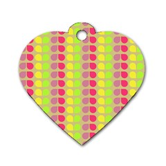 Colorful Leaf Pattern Dog Tag Heart (one Side) by creativemom
