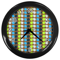 Colorful Leaf Pattern Wall Clocks (black)