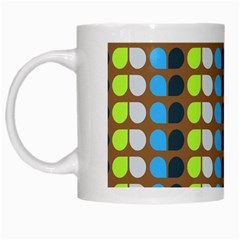 Colorful Leaf Pattern White Mugs