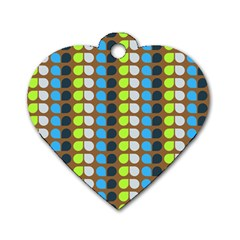 Colorful Leaf Pattern Dog Tag Heart (two Sides) by creativemom