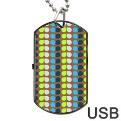 Colorful Leaf Pattern Dog Tag Usb Flash (two Sides)