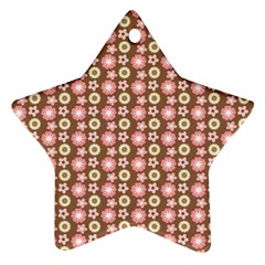 Cute Floral Pattern Star Ornament (two Sides)  by creativemom