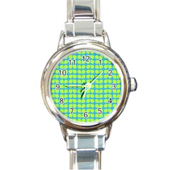 Blue Lime Leaf Pattern Round Italian Charm Watches by creativemom