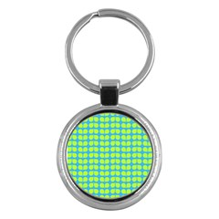 Blue Lime Leaf Pattern Key Chains (round)
