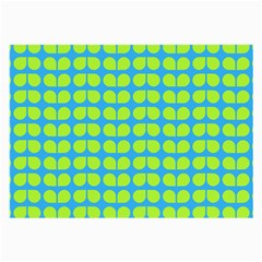 Blue Lime Leaf Pattern Large Glasses Cloth (2 Side) by creativemom