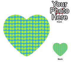 Blue Lime Leaf Pattern Multi-purpose Cards (heart)  by creativemom