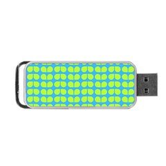 Blue Lime Leaf Pattern Portable Usb Flash (one Side)