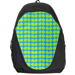 Blue Lime Leaf Pattern Backpack Bag by creativemom