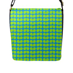 Blue Lime Leaf Pattern Flap Messenger Bag (l)  by creativemom