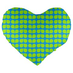 Blue Lime Leaf Pattern Large 19  Premium Flano Heart Shape Cushions by creativemom