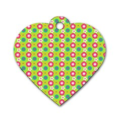 Cute Floral Pattern Dog Tag Heart (two Sides) by creativemom