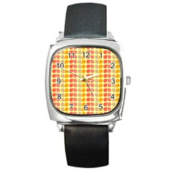 Colorful Leaf Pattern Square Metal Watches by creativemom