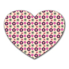 Cute Floral Pattern Heart Mousepads by creativemom