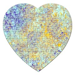 Abstract Earth Tones With Blue  Jigsaw Puzzle (heart) by digitaldivadesigns